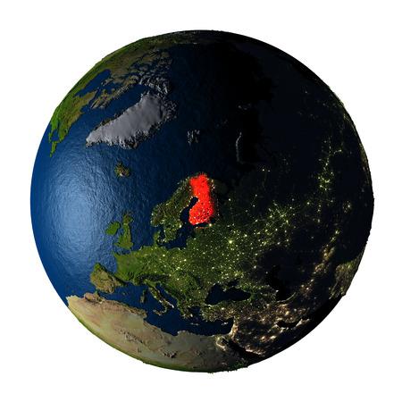 ranges: Finland highlighted red on highly detailed model of planet Earth with visible city lights, plastic oceans and mountain ranges. 3D illustration isolated on white background.