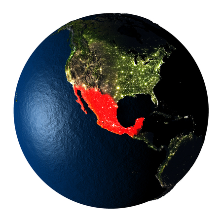 ranges: Mexico highlighted red on highly detailed model of planet Earth with visible city lights, plastic oceans and mountain ranges. 3D illustration isolated on white background.