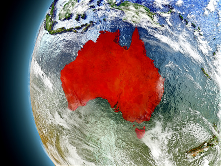 Australia on model of Earth with watery oceans and realistic clouds in the atmosphere. 3D illustration with detailed planet surface. Stock Photo
