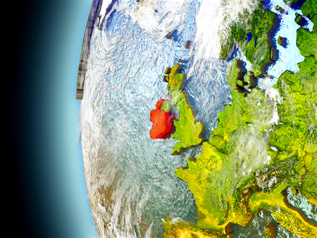Ireland on model of Earth with watery oceans and realistic clouds in the atmosphere. 3D illustration with detailed planet surface.