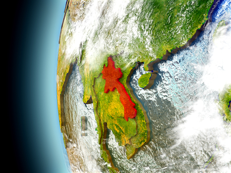 Laos on model of Earth with watery oceans and realistic clouds in the atmosphere. 3D illustration with detailed planet surface.