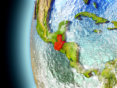 guatemalan: Guatemala on model of Earth with watery oceans and realistic clouds in the atmosphere. 3D illustration with detailed planet surface. Stock Photo