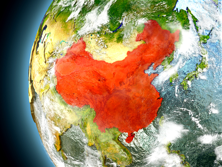 China on model of Earth with watery oceans and realistic clouds in the atmosphere. 3D illustration with detailed planet surface.