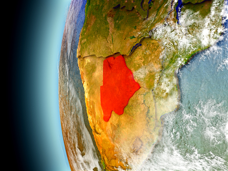 Botswana on model of Earth with watery oceans and realistic clouds in the atmosphere. 3D illustration with detailed planet surface. Stock Photo
