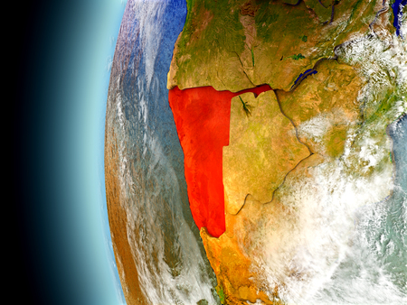 Namibia on model of Earth with watery oceans and realistic clouds in the atmosphere. 3D illustration with detailed planet surface.
