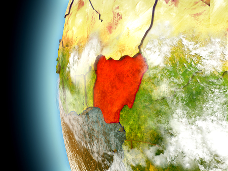 country nigeria: Nigeria on model of Earth with watery oceans and realistic clouds in the atmosphere. 3D illustration with detailed planet surface.