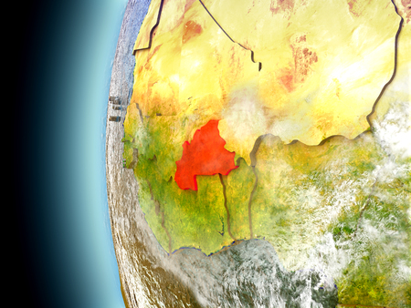 Burkina Faso on model of Earth with watery oceans and realistic clouds in the atmosphere. 3D illustration with detailed planet surface.