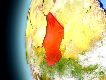 chadian: Chad on model of Earth with watery oceans and realistic clouds in the atmosphere. 3D illustration with detailed planet surface.