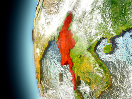 burmese: Myanmar on model of Earth with watery oceans and realistic clouds in the atmosphere. 3D illustration with detailed planet surface. Stock Photo