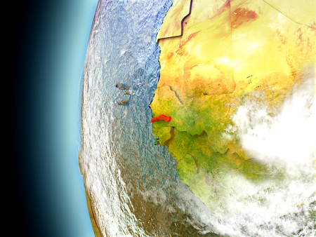 gambia: Gambia on model of Earth with watery oceans and realistic clouds in the atmosphere. 3D illustration with detailed planet surface. Stock Photo