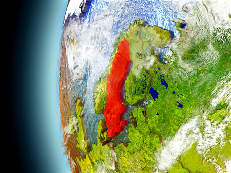 Sweden on model of Earth with watery oceans and realistic clouds in the atmosphere. 3D illustration with detailed planet surface.