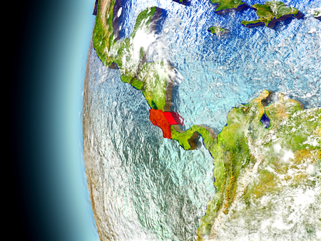Costa Rica on model of Earth with watery oceans and realistic clouds in the atmosphere. 3D illustration with detailed planet surface.