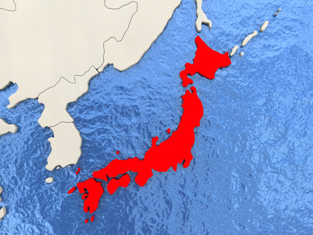 Japan in red on political map with watery oceans. 3D illustration Stock Photo