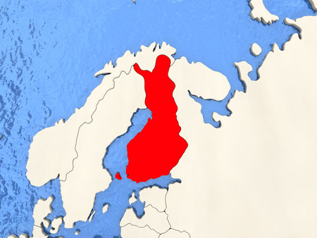 Finland in red on political map with watery oceans. 3D illustration Stock Photo
