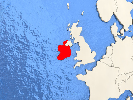 Ireland in red on political map with watery oceans. 3D illustration Stock Photo