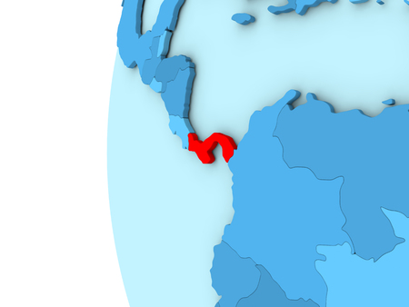 panamanian: Map of Panama on simple blue. 3D illustration Stock Photo