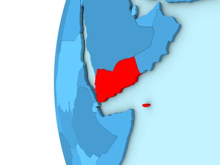 yemen: Map of Yemen on simple blue. 3D illustration