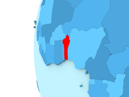 Map Of Benin On Simple Blue. 3D Illustration Stock Photo, Picture ...