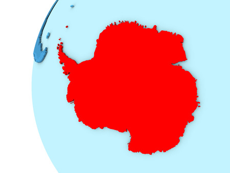 Map of Antarctica on simple blue. 3D illustration Stock Photo