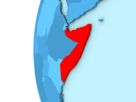 somalia: Map of Somalia on simple blue. 3D illustration