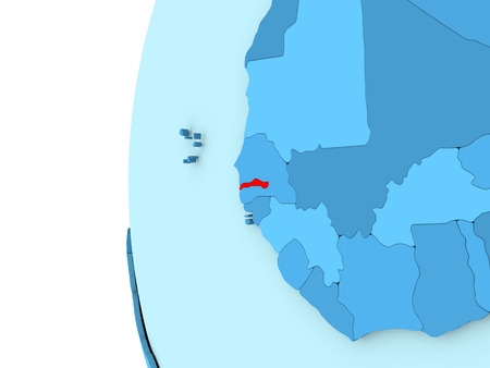 Map of Gambia on simple blue. 3D illustration