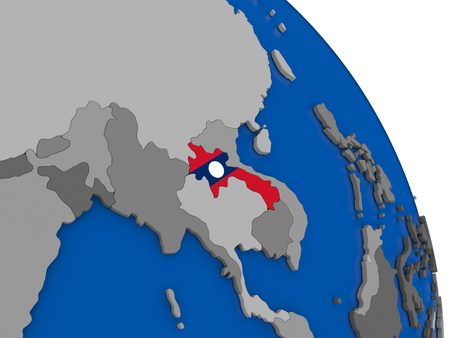 Political map Laos with national flag symbol embedded into the country. 3D illustration