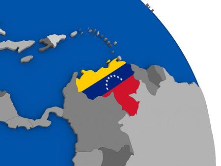 mapa de venezuela: Political map Venezuela with national flag symbol embedded into the country. 3D illustration
