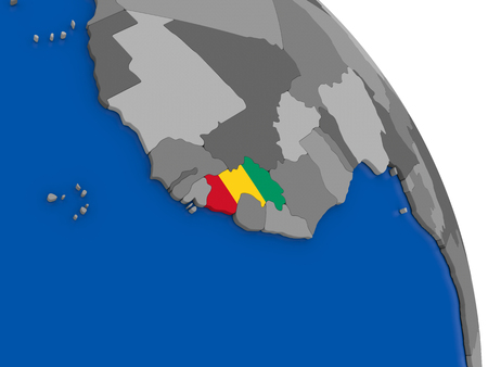Political map Guinea with national flag symbol embedded into the country. 3D illustration