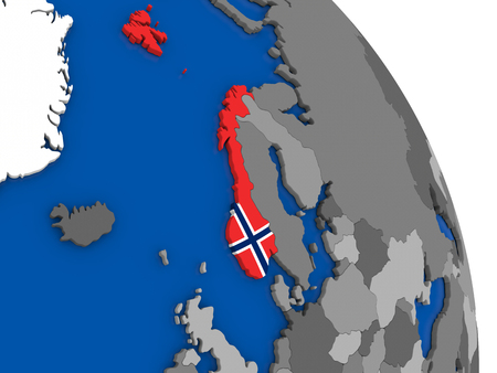 norway flag: Political map Norway with national flag symbol embedded into the country. 3D illustration Stock Photo
