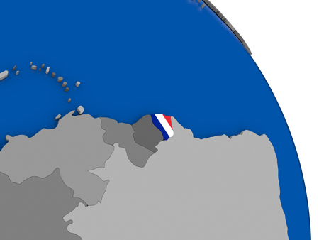 guiana: Political map French Guiana with national flag symbol embedded into the country. 3D illustration Stock Photo