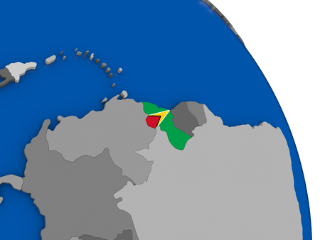 Political map Guyana with national flag symbol embedded into the country. 3D illustration