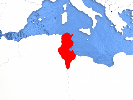 Political Map Tunisia In Red D Illustration With Watery Blue - Us political map red blue