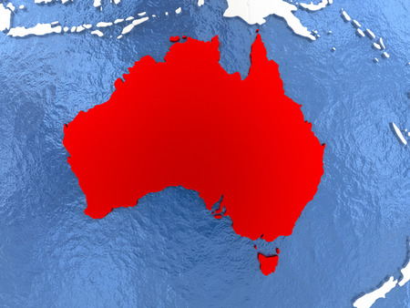 Political map Australia in red. 3D illustration with watery blue oceans and metallic landmasses.