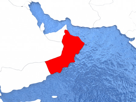 Political map Oman in red. 3D illustration with watery blue oceans and metallic landmasses.