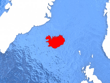 Political map Iceland in red. 3D illustration with watery blue oceans and metallic landmasses. Stock Photo