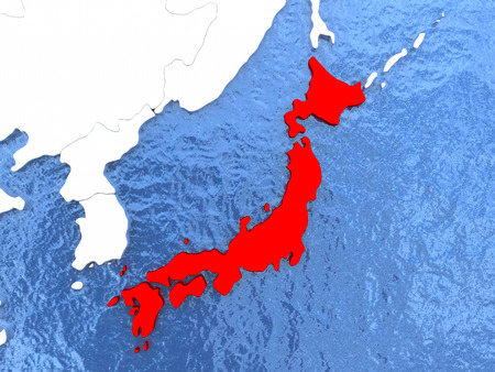 Political map Japan in red. 3D illustration with watery blue oceans and metallic landmasses.