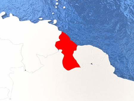 guyanese: Political map Guyana in red. 3D illustration with watery blue oceans and metallic landmasses.