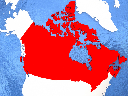 Political map Canada in red. 3D illustration with watery blue oceans and metallic landmasses. Stock Photo