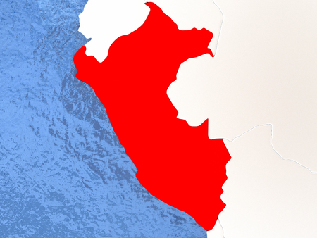 mapa del peru: Political map Peru in red. 3D illustration with watery blue oceans and metallic landmasses. Foto de archivo