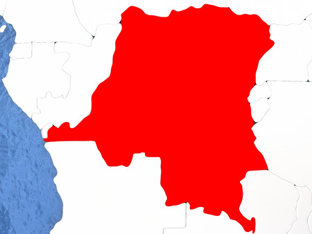 Political map Democratic Republic of Congo in red. 3D illustration with watery blue oceans and metallic landmasses. Stock Photo