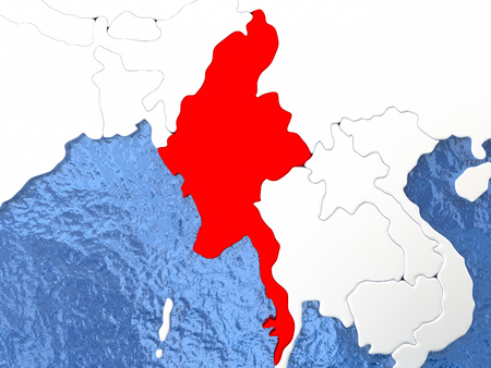 burmese: Political map Myanmar in red. 3D illustration with watery blue oceans and metallic landmasses.