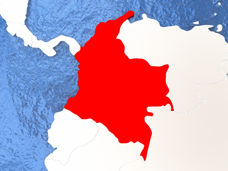 Political map Colombia in red. 3D illustration with watery blue oceans and metallic landmasses.