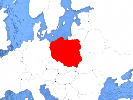 Bulgaria In Red On Political Map With Watery Oceans D - Us political map red blue