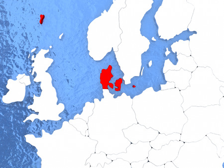 Political map Denmark in red. 3D illustration with watery blue oceans and metallic landmasses.
