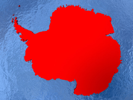 Political map Antarctica in red. 3D illustration with watery blue oceans and metallic landmasses.