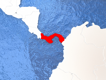 panamanian: Political map Panama in red. 3D illustration with watery blue oceans and metallic landmasses. Stock Photo