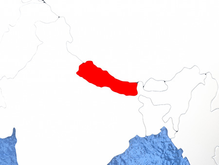 nepali: Political map Nepal in red. 3D illustration with watery blue oceans and metallic landmasses.