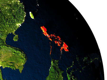 Philippines highlighted in red on model of planet Earth with very detailed land surface and visible city lights. 3D illustration.