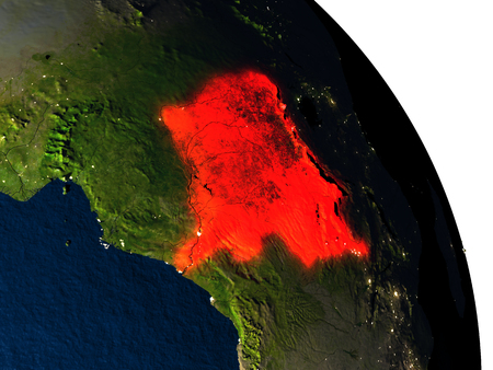 Democratic Republic of Congo highlighted in red on model of planet Earth with very detailed land surface and visible city lights. 3D illustration.