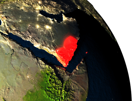 Yemen highlighted in red on model of planet Earth with very detailed land surface and visible city lights. 3D illustration.